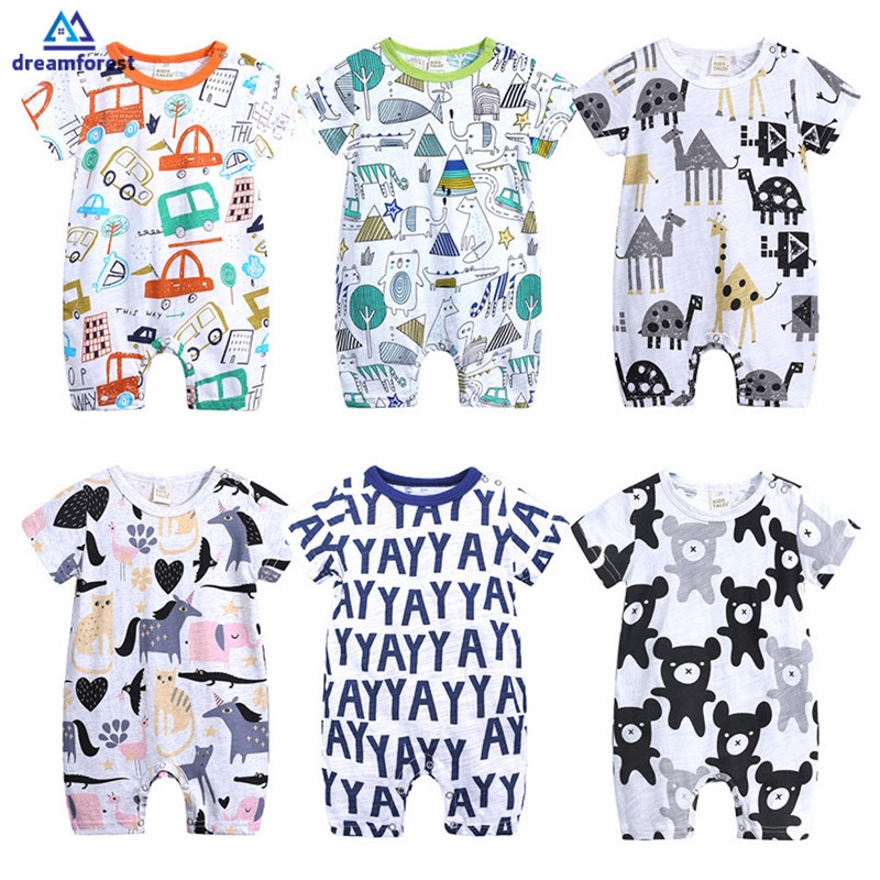 DF Cartoon Baby Onesies Summer Cotton Romper Boy Girls Clothes Knitted Cartoon Short-sleeved Jumpsuit Outfits