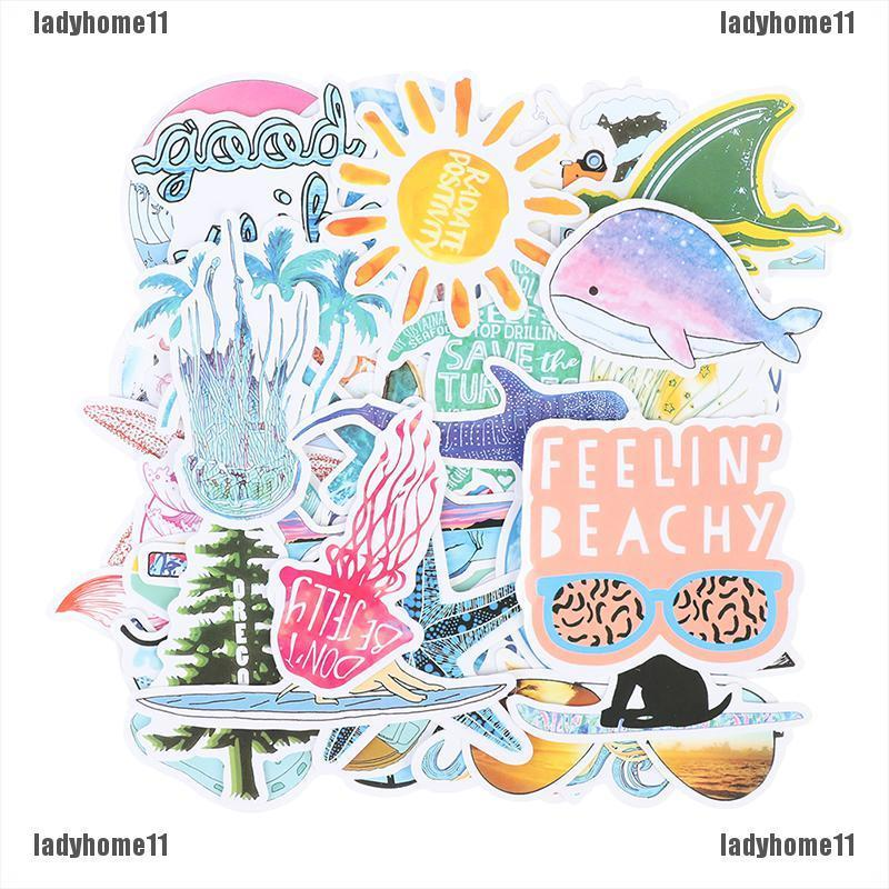 {ladyhome11}50pcs summer beach surfing graffiti stickers waterproof stickers for suitcases