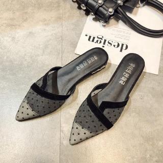 Giày sandal nữ phối lưới họa tiết chấm bi thời trang