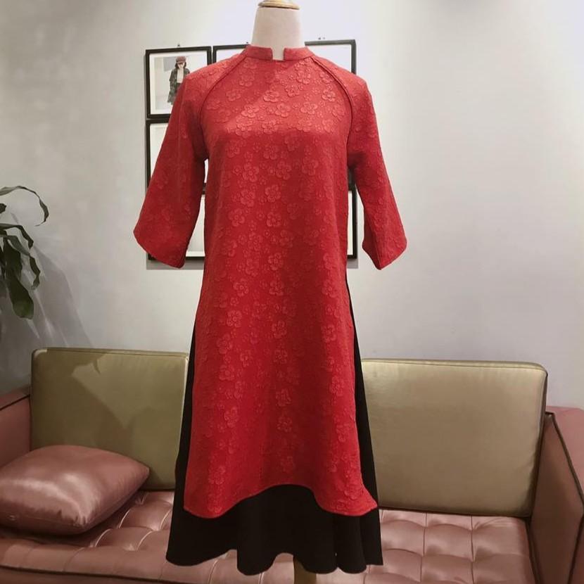 Set áo dài gấm đỏ + chân váy [FORM OVERSIZE]