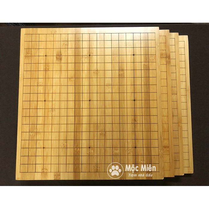 Bàn cờ vây gỗ tre dày 2cm 2 mặt 19x19 và 13x13