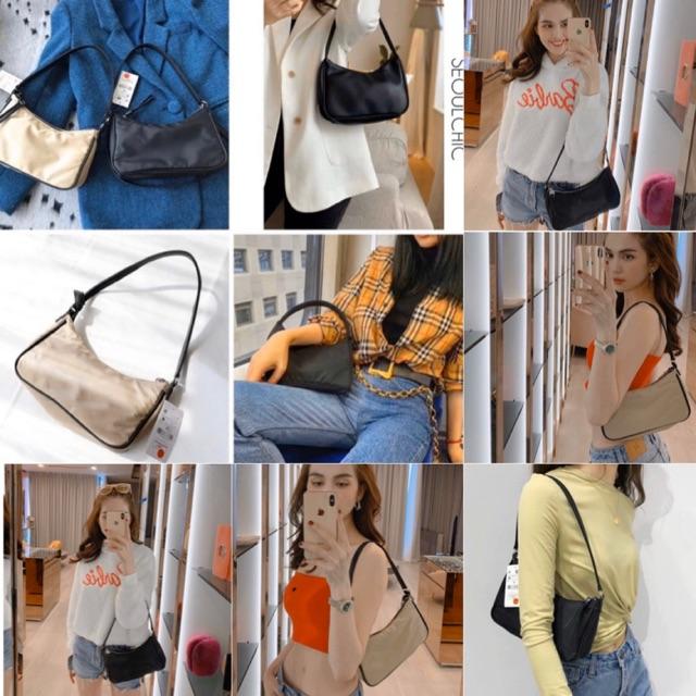 Túi đeo chéo Stradivarius hàng auth tuồn full tag - túi có 2 qai có thể xách tay đơn giản dễ mix vải dù ko thấm nước