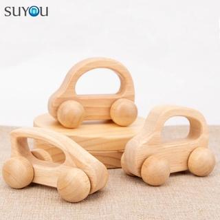 SUYOU Baby Montessori Toys Cartoon Baby Teething Wooden Car Toys for Newborn Birthday Gift Decoration Crafts Hand Push Educational Handwork Car Miniatures