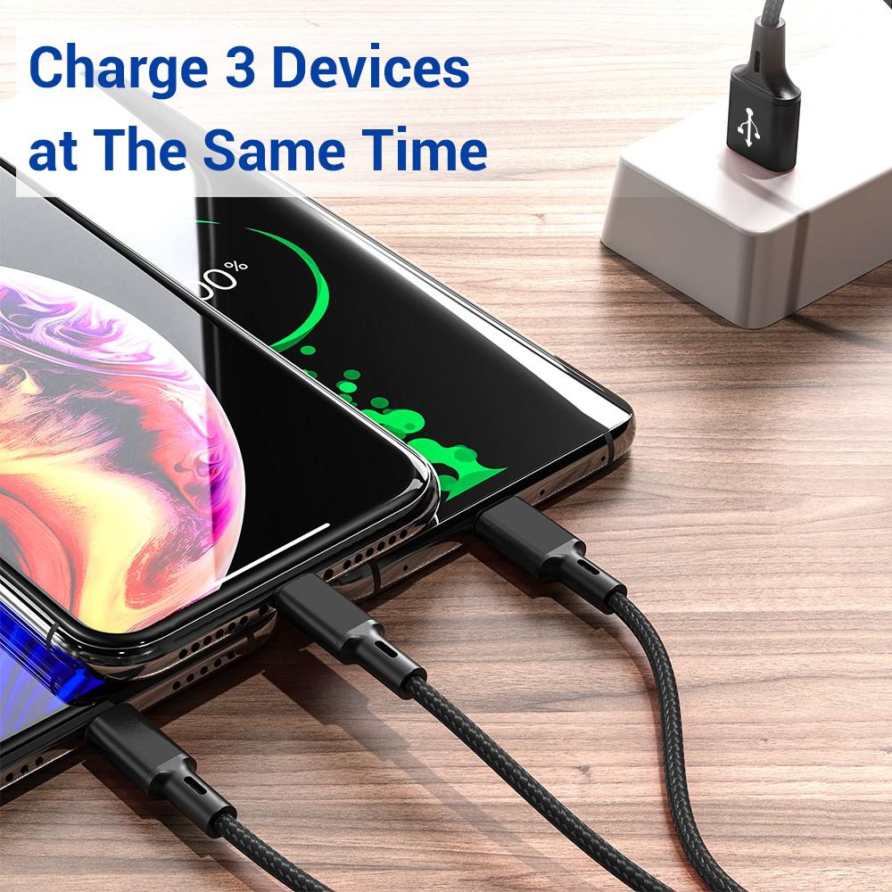 Dây cáp sạc TOPK AN20 nhiều cổng sạc USB micro type C lightning 3 trong 1 cho điện thoại iPhone Samsung Huawei dài 1.2M