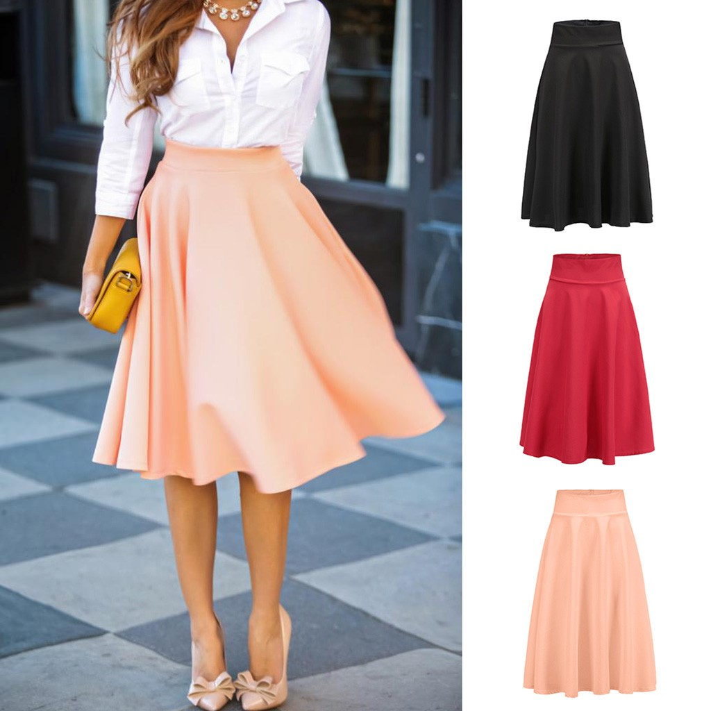 Chân váy lưng cao màu trơn phong cách vintage