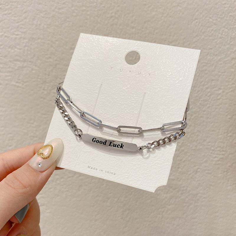 [Mã FASHIONT4FA2 giảm 10K đơn 50K] Punk Letter Good Lucky Charms Bracelets Double Layer Chain Design Bangles Women Simple Bracelet Jewelry