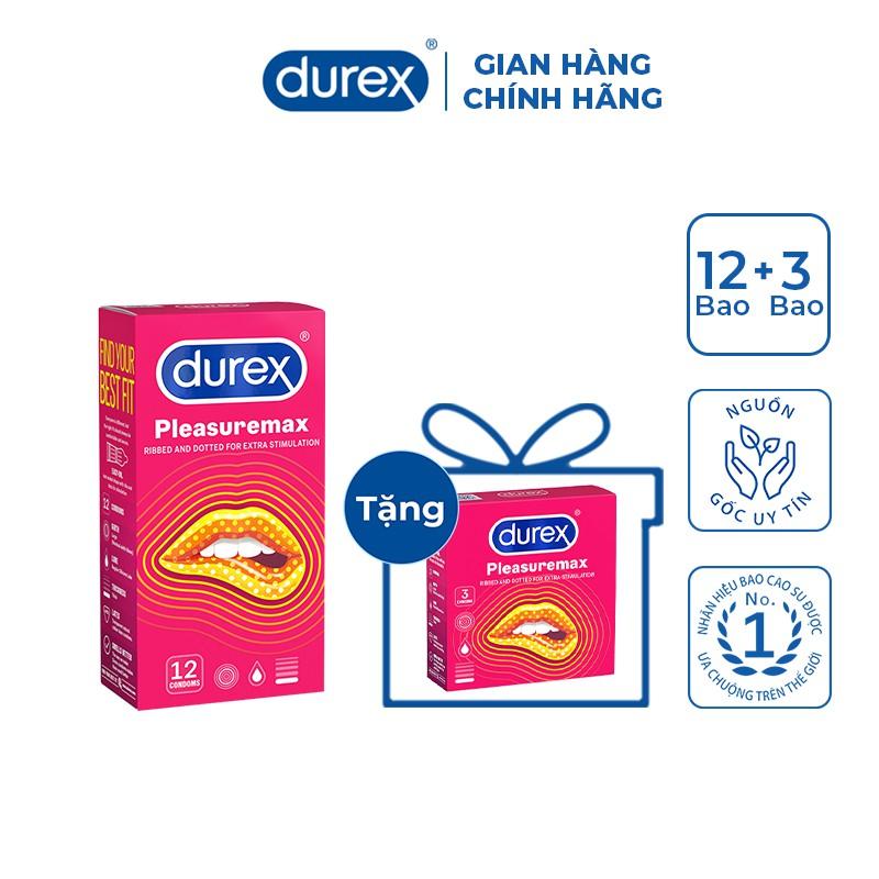 Bộ 1 hộp bao cao su Durex Pleasuremax (12 bao/hộp) + tặng 1 hộp Durex Pleasuremax (3 bao/hộp)