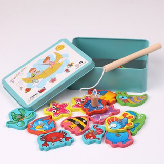 ĐỒ CHƠI CÂU CÁ NAM CHÂM Fishing Toy Wooden Iron Box Magnetism 15 Parent-Child Interactive Baby Toys