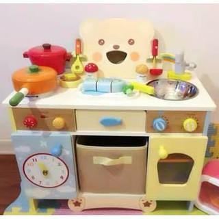 Bộ đồ bàn bếp nấu ăn bằng gỗ dành cho bé gái set 3