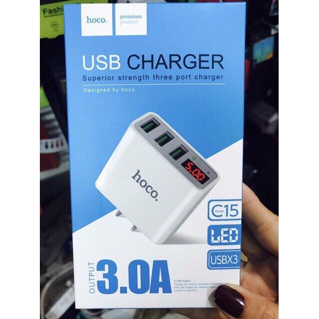 Củ sạc 3 cổng USB HOCO C15 - Màn hình LCD hiển thị điện áp