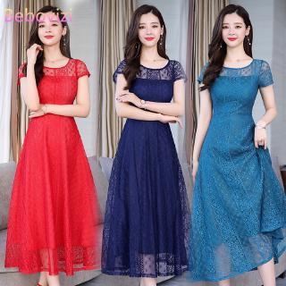 Đầm maxi ngắn tay phối ren phong cách Hàn Quốc thanh lịch dành cho nữ