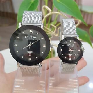 Đồng hồ cặp đôi nam nữ Longbo dây thép lụa nhuyễn khóa cài di động mặt đen huyền bí thumbnail