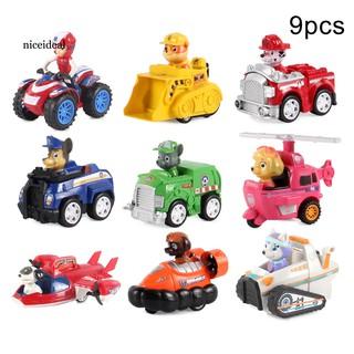 ●NIC 9Pcs/Set Mini Paw Patrol Dog Pull Back Car Model Development Kids Toy Gift