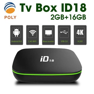 ID18 Android 9.0 OS TV Box 2GB 16GB 4K 2.4GHz Wifi Quad Core Smart TV Box