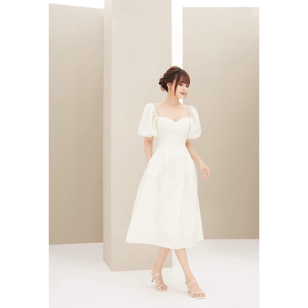 [Mã WAUP23 hoàn 10% xu đơn 99k] Đầm dự tiệc công chúa màu trắng tay phồng