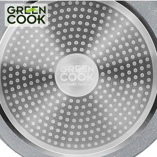 Hình ảnh Chảo đáy từ vân đá chống dính GREEN COOK 22 - 24 - 26 - 28 - 30 cm tay cầm chịu nhiệt - Hàng chính hãng-1