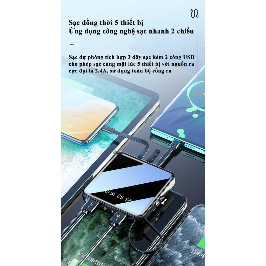 Sạc Dự Phòng YM-300S 20000mAh Sạc Nhanh 10W Tích Hợp Cổng Sạc USB, Type C, Lightning, Micro USB