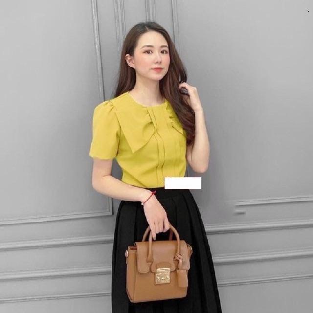 Mặc gì đẹp: Xinh xinh với Áo kiểu phối nơ xinh siêu xinh - nhiều Size và màu, form dáng chuẩn dễ mặc công sở, dự tiệc hoặc dạo phố