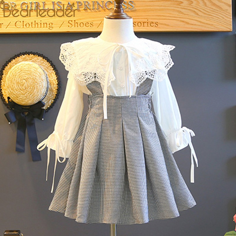 New Autumn England Style Lace Long Sleeve Shirt+ Plaid Strap Dress For Girl