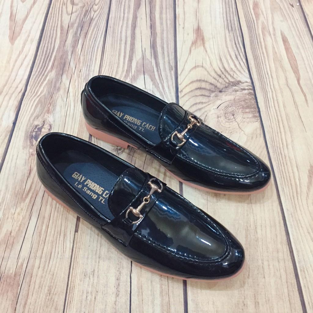 Giày tây nam da bóng đai kim loại vàng lịch lãm ( Chất St