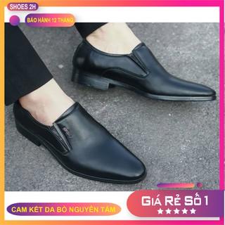 Giày Tây Công Sở Mõm Nhọn Da Bò Màu Đen, Thời Trang Cao Cấp cho Nam 2H-74