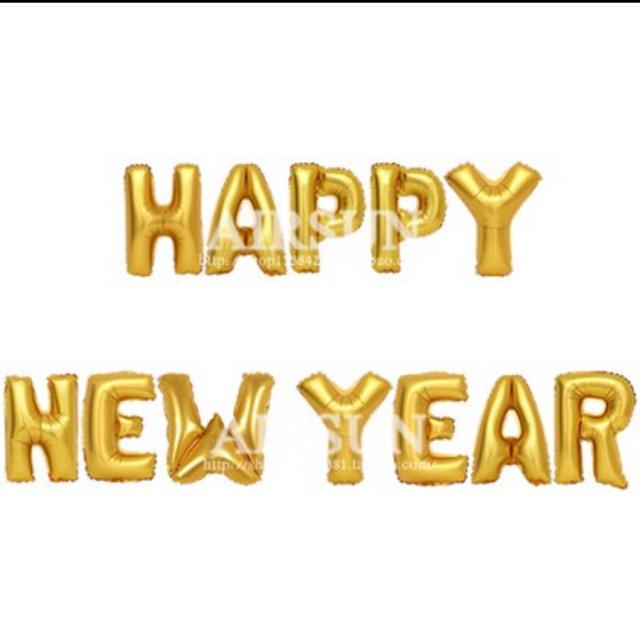 Set chữ HAPPY NEW YEAR màu vàng
