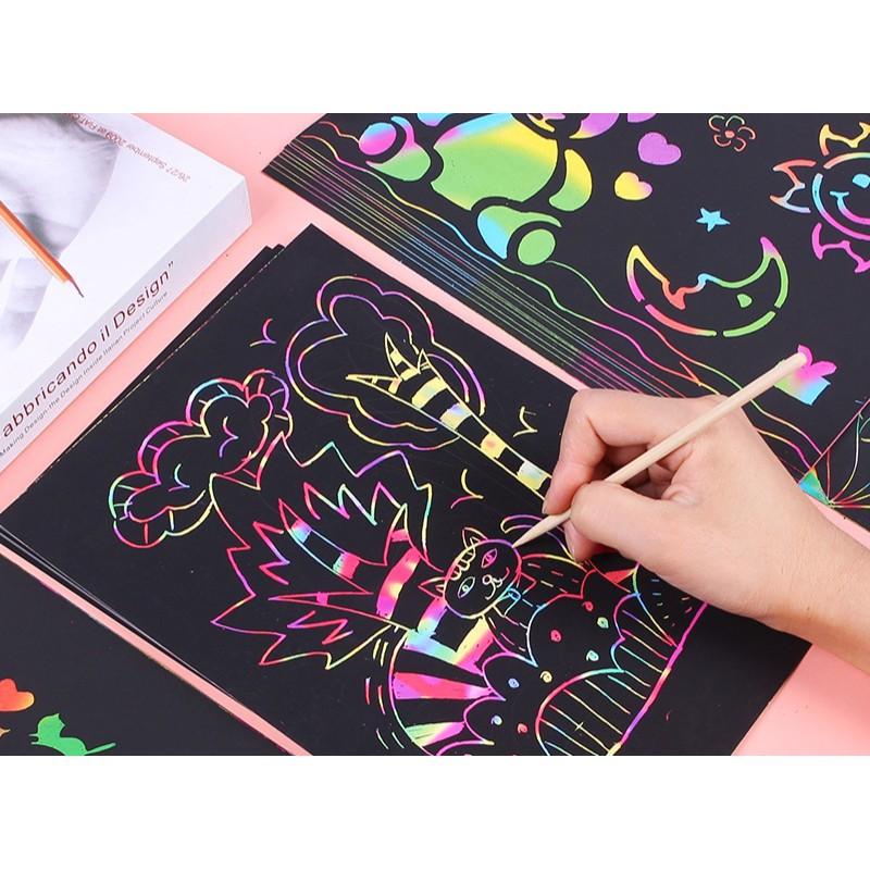 Giấy vẽ ma thuật A3 màu sắc đại 10 tờ