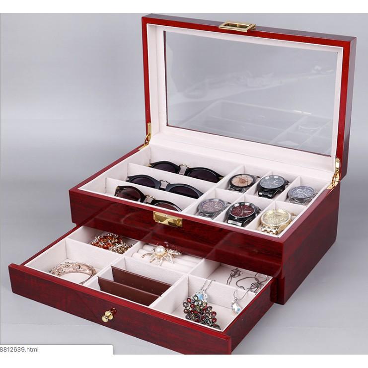 Hộp đựng đồng hồ và trang sức, kính mắt 2 tầng thời trang vân gỗ, hộp đựng đồng hồ và trang sức