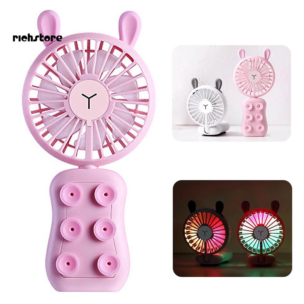RICH_Cute Rabbit LED Light Sucker Phone Holder Folding Mini USB Charging Cooling Fan