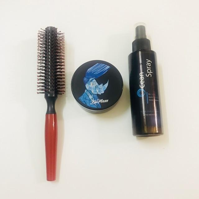 Combo sáp vuốt tóc Blumaan tê giác + pre-styling Ocean Spay + lược tròn