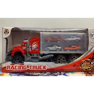 Đồ chơi mô hình xe tải vận chuyển 4 xe con RACING TRUCK