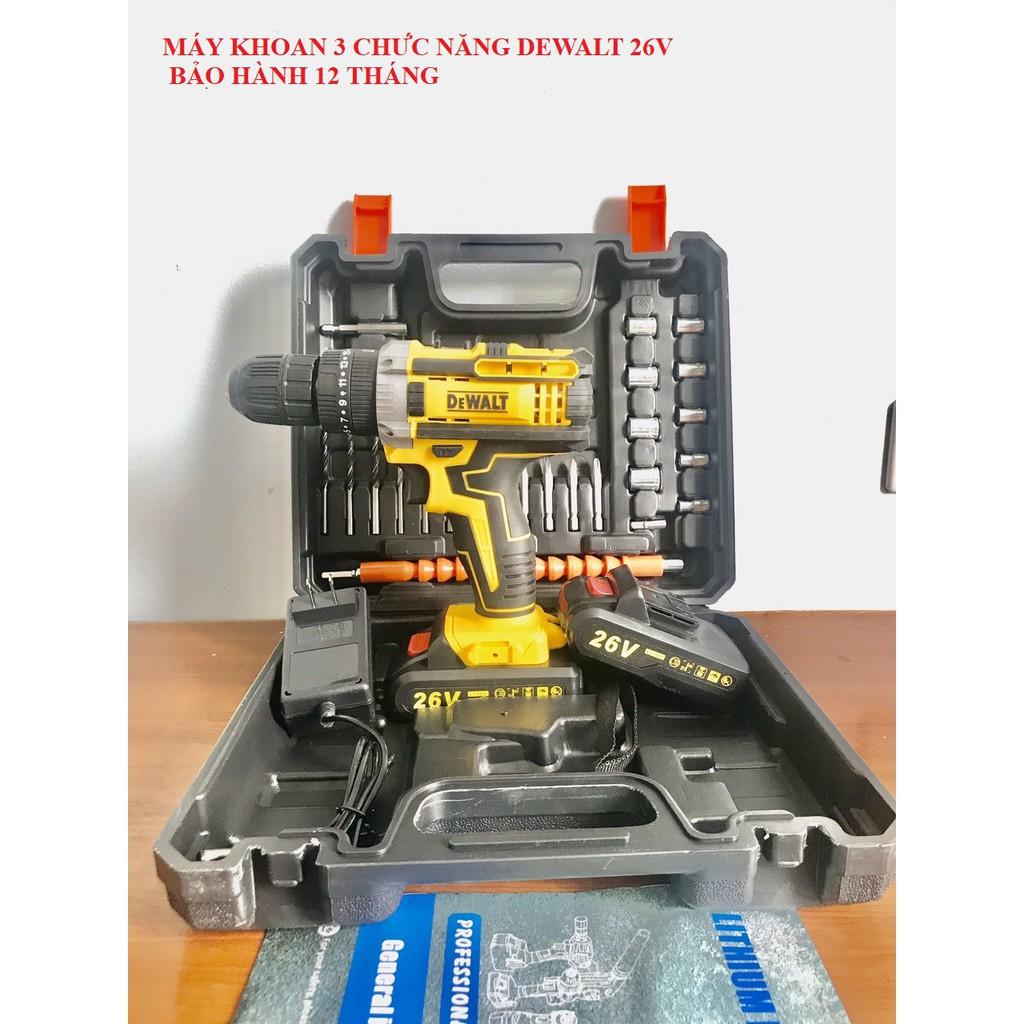 [Lỗi 1 Đổi 1] Máy Khoan Pin-Máy Khoan Pin Dewalt 26V 3 Chức Năng TặNg Kèm 24 Phụ Kiện Freeship