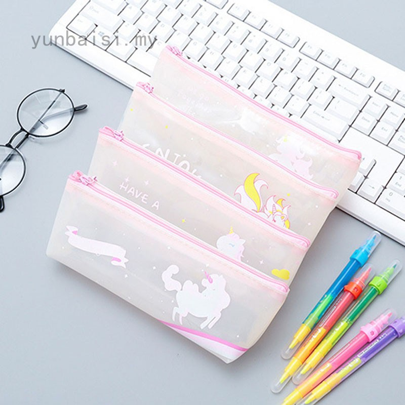 Unicorn PVC Waterproof Pencil Cases Transparent Stationery Folder Storage Office School Supplies Pencil Bags For Girls