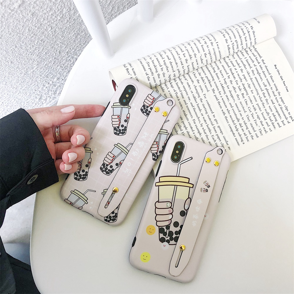 XR XS MAX Covers Case For iPhone 7/8 6/6s Plus Single Soft Multiple Bottle Milk Tea Wristband