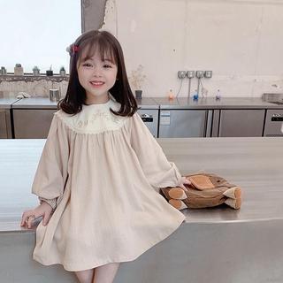Váy tay dài thêu hoa xinh xắn màu Apricot thời trang cho bé gái