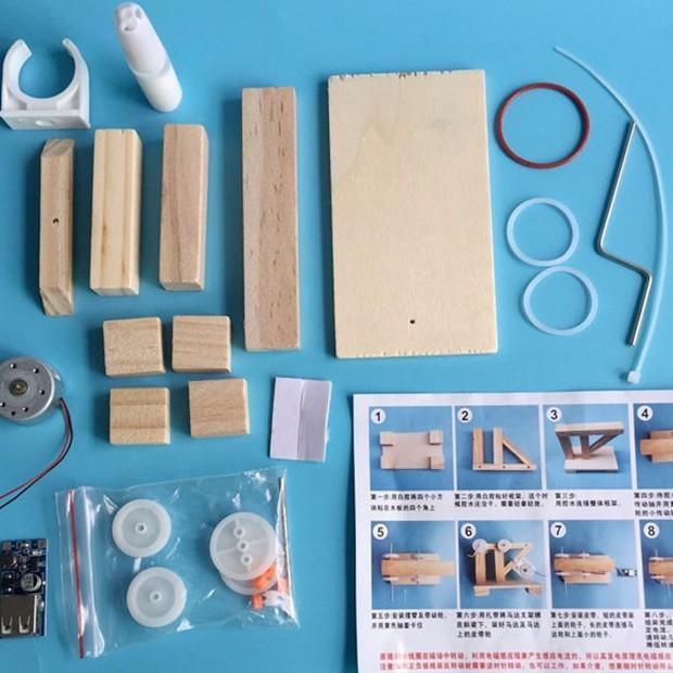 Đồ chơi thông minh, sáng tạo STEM máy phát điện gỗ mini quay tayTOY6700