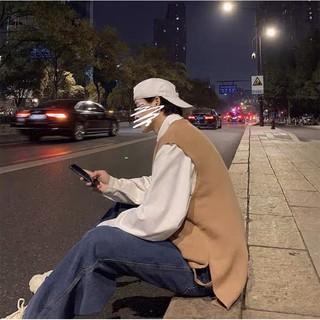 [CÓ SẴN – ẢNH THẬT] Áo gile len cổ tròn xẻ tà phong cách ulzzang Hàn Quốc