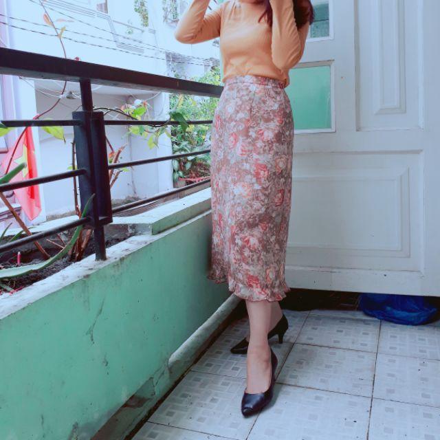 Chân váy hoa Nhật