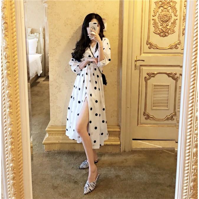 Đầm Váy, đầm dạo phố chấm bi cổ v xẻ tà, YG5202 - TRẮNG