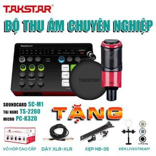 [CHÍNH HÃNG]Trọn bộ combo thu âm,hát live stream chuyên nghiệp:SOUNDCARD SC-M1, MIC TAKSTAR PC-K320 và TAI NGHE TS-2260