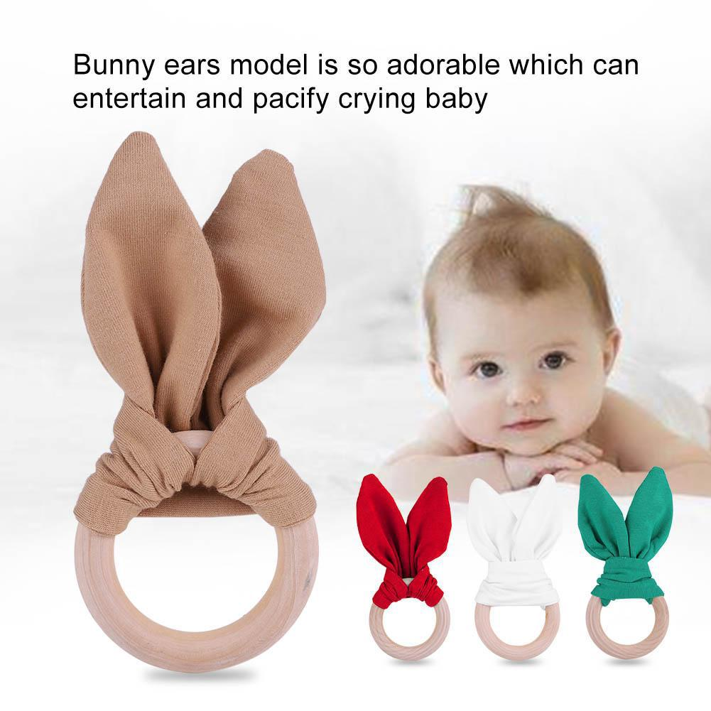 Baby Infant Wooden Teether Adorable Bunny ear Teething Ring