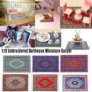 BSUNS 1:12 Embroidered Furniture Home Living Turkish Style Woven Floral Dollhouse Mat