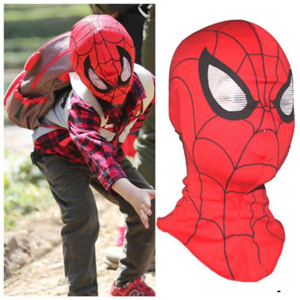 Mặt nạ hình người nhện dubaba cho lễ Halloween-Mặt nạ Người Nhện vải trùm đầu-Mặt nạ Người Nhện có đèn, có nhạc khi dùng