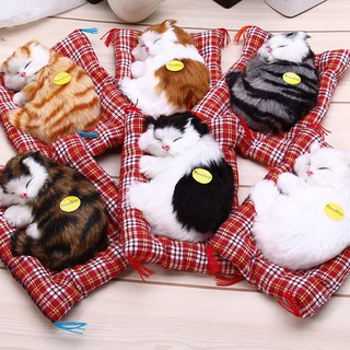 (Ready stock) FT Simulation Animal Doll Plush Sleeping Cats Toy with Sound