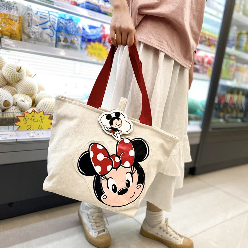 Túi Xách Đeo Vai Vải Canvas Cỡ Lớn In Hình Chuột Mickey Dễ Thương