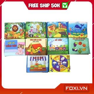 [FREESHIP+TẶNG QUÀ] ComBo 10 Sách Vải Song ngữ theo yêu cầu-Giáo dục mầm non giúp bé Kích thích thị giác