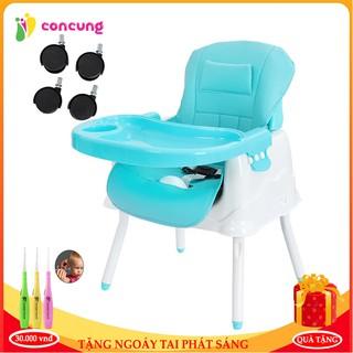 Ghế ăn dặm, ghế ăn dặm cho bé, ghế ăn dặm cao cấp đa chức năng có đệm kèm chân sắt và bánh xe tiện lợi cho mẹ và bé thumbnail