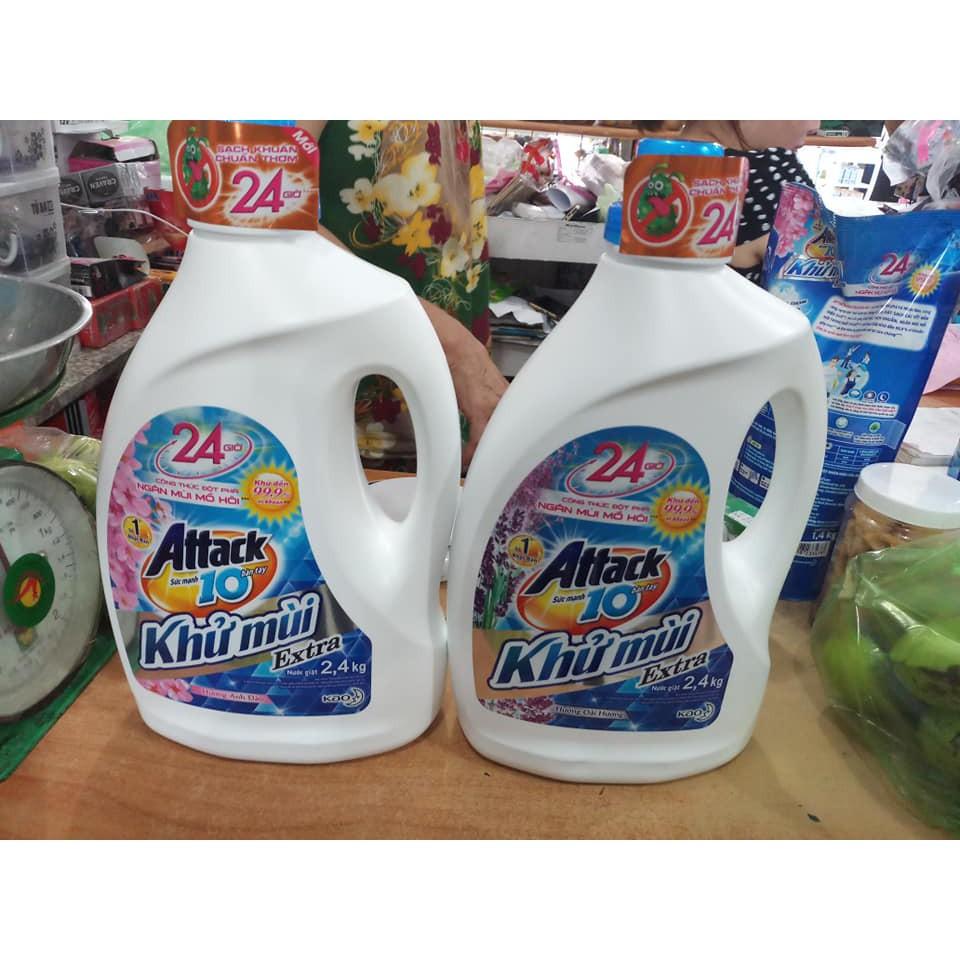 Nước giặt Attack 2.4kg Khử mùi hương hoa
