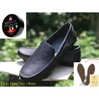 (Hỗ trợ khâu) Giày mọi nam GEOX 401 da trâu còn lâu mới hỏng - bền đẹp rẻ (39-45) (màu đen) thumbnail