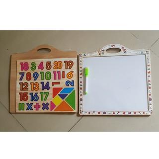 siêu siêu rẻ Đồ chơi bảng gỗ nam châm 2in1 cho bé – Vẽ và Ghép chữ, Số mã RG89